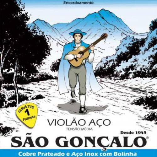 """Encordoamento São Gonçalo para Violão de Aço Iz 0125 - Tensão Média .011""""/.046"""" + Palheta"""