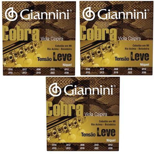 3 Encordoamento Viola Caipira Giannini Cobra Gesvnl - Leve