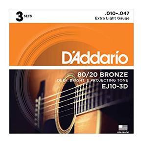 Encordoamento Violão Aço Daddario 010 047 Pack 3 Ej10-3D