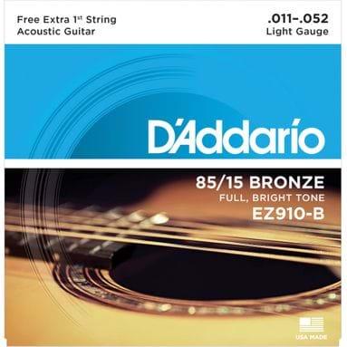 Encordoamento Violão D'Addario 011-052 EZ910-B Light 85/15 Bronze - com Corda Extra