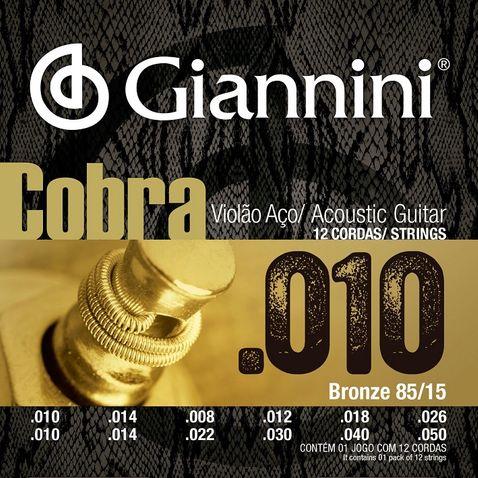Encordoamento Violao Giannini Geef12m 12 Cordas Media Aço