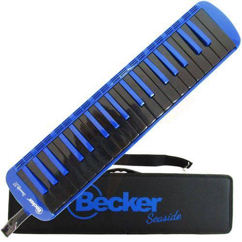 Escaleta Melodica Becker Seaside Azul 37 Teclas C/ Estojo Case