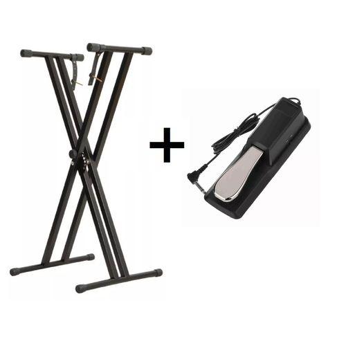 Estante para Teclado ou Piano Q2x + Pedal Sustain Mellody