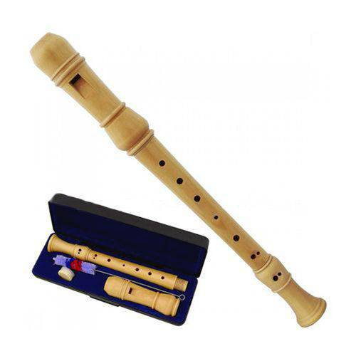 Flauta Doce Barroca Completa em Madeira + Estojo + Kit Limpeza