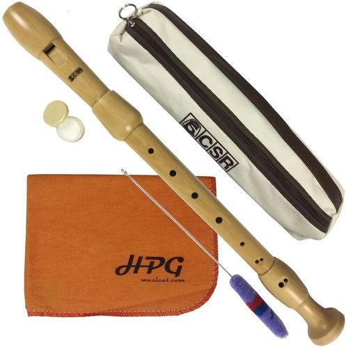 Flauta Doce Contralto Barroca Madeira Csr Wood com Flanela