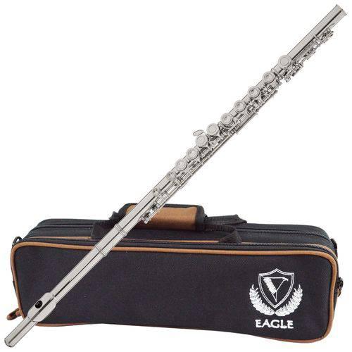 Flauta Transversal Prateada em Dó Fl05s Eagle com Estojo Luxo