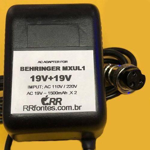Fonte Ac 19V Compatível com Mesa Mixer Behringer MXUL1 MX1804X MX2004A MX2642A MX2804A DX1000