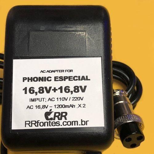Fonte Carregador 16,8v 1,2A para Mesa de Audio Phonic Mr2443a Bivolt