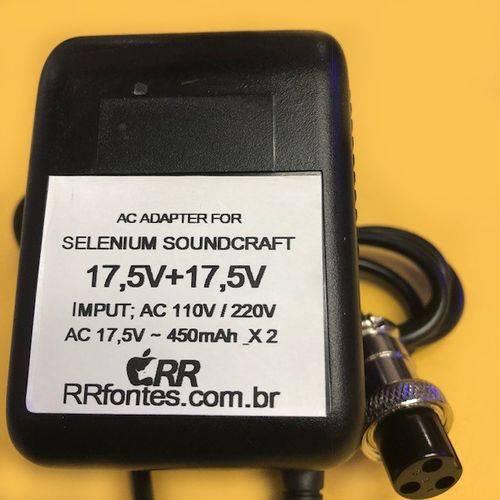 Fonte Carregador 17,5 450mah X2 para Mesa Soundcraft Spirit Folio Modelo Fx8 Bivolt