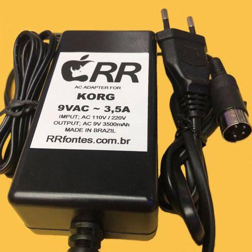Fonte Carregador 9vac 3500ma Especial para Korg Piano Digital Sp500 Ac 9 Volts
