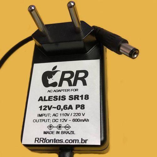 Fonte de Alimenteção Carregador DC 12v 600ma Compativel Bateria Alesis Sr18 Centro Negativo