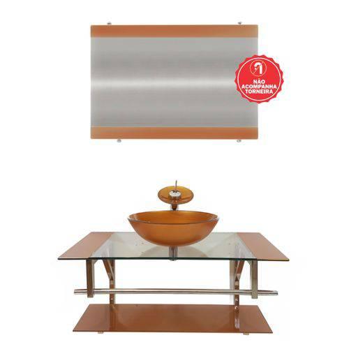 Gabinete de Vidro 90cm para Banheiro Itália Dourado Real
