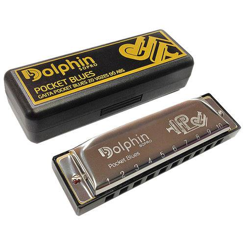 Gaita de Boca Dolphin Diatônica Pocket Blues 20 Vozes em C Dó + Case