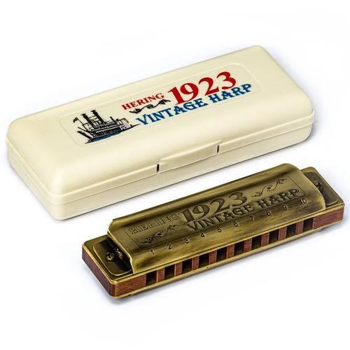 Gaita de Boca Hering Diatônica Vintage Harp 1923 a Lá 1020A + Case