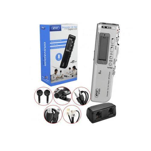 Gravador de Voz Espião Digital Mp3 +microfone +fone Knup Kp-8004 Prata - Prata