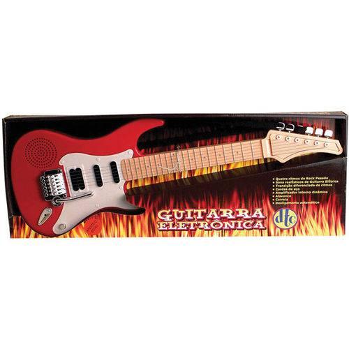 Guitarra de Brinquedo DTC Eletrônica com Som Alça e Cordas de Aço