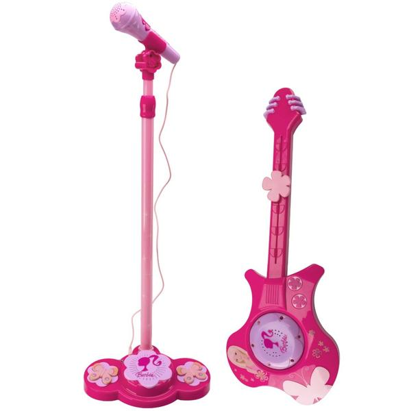 Guitarra Elétrica e Microfone com Amplificador da Barbie