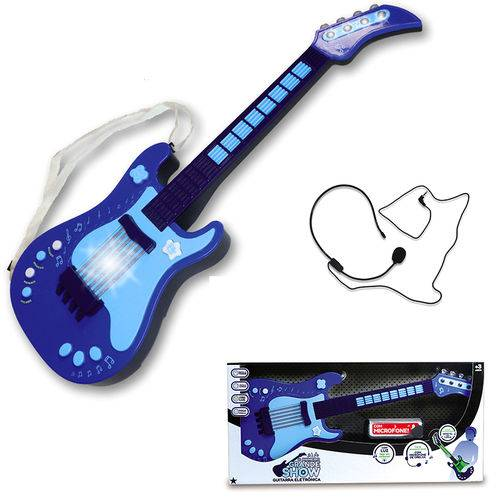 Guitarra Eletrônica Infantil - Azul - Unik Toys