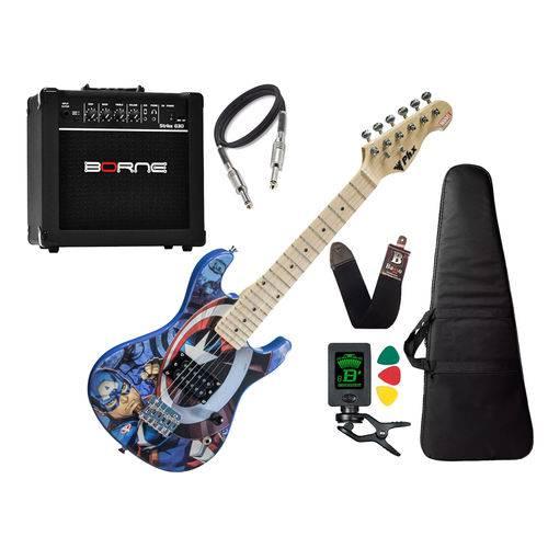 Guitarra Infantil Capitão America Avengers Marvel Borne