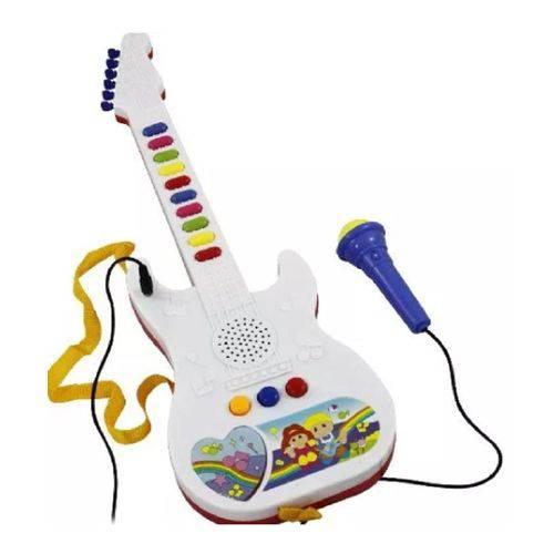 Guitarra Infantil Microfone Emite Sons Musicas Deixa Cantar