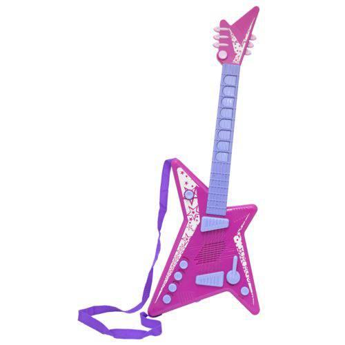 Guitarra Musical Infantil Mega Star Feminino Rosa de Brinquedo BBR TOYS