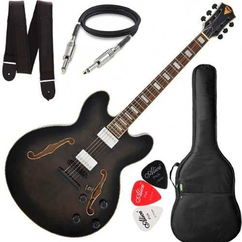 Guitarra Phx Semi Acústica Ac1 Preto com Capa Cabo Correia