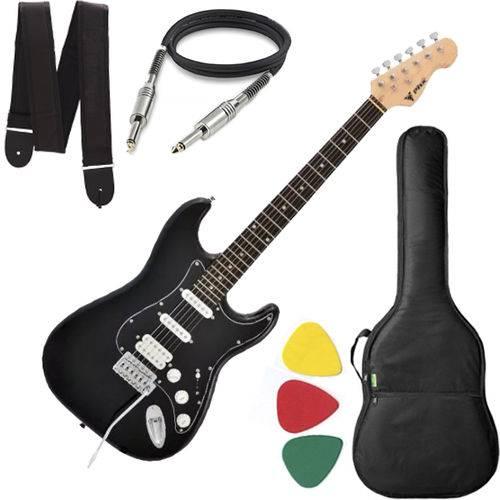 Guitarra Phx Strato Power St H Sth Cor Preto Capa Alça Cabo