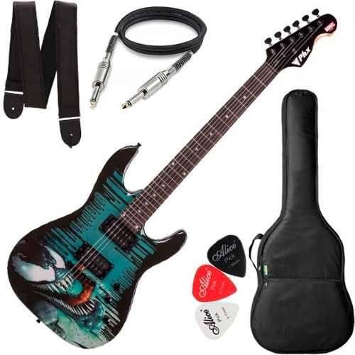 Guitarra Strato Phx Marvel Venom Gmv-1 Capa Cabo e Correia
