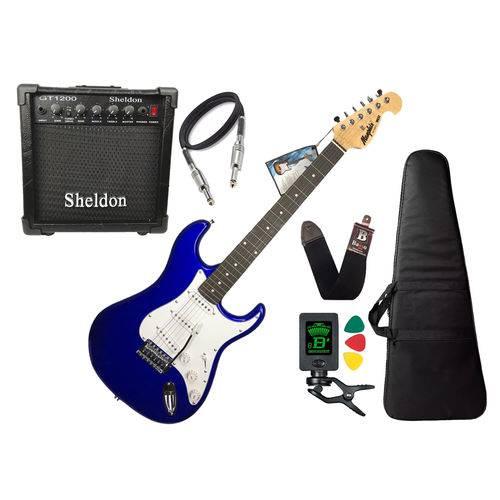 Guitarra Tagima Memphis Mg32 Azul Caixa Amplificador Sheldon