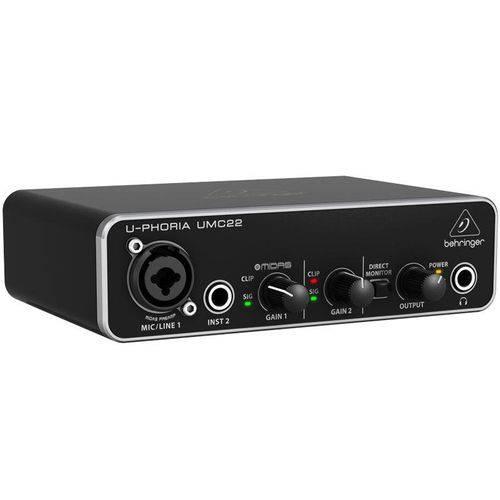 Interface Áudio 2 Canais Behringer Umc22 Usb U-phoria