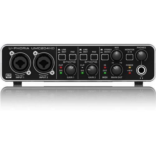 Interface de Audio Behringer UMC204 HD USB C/ Pré MIDAS