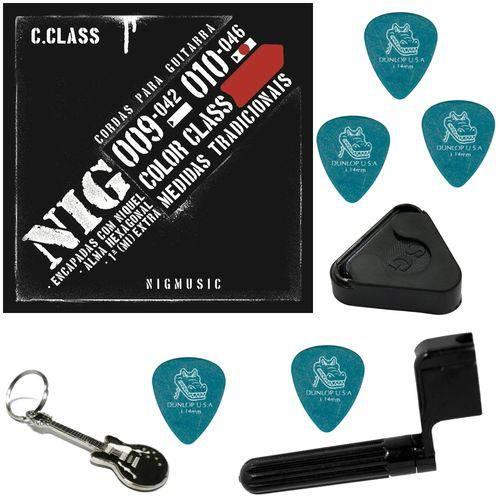 Jogo de Cordas Nig Color Class Vermelho 010 046 P/ Guitarra N1641 + Kit IZ1