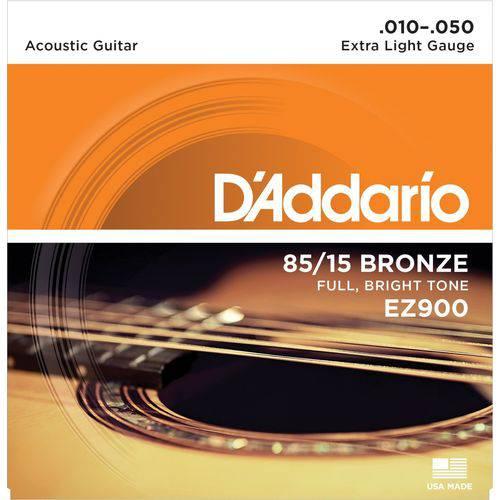 Jogo de Cordas para Violão Aço 010 D'addario 85/15 Bronze EZ900 Extra Light Gauge