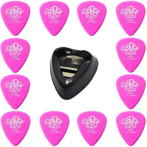 Kit 12 Palhetas Dunlop Derlin 500 .71mm Guitarra + Porta Palhetas Dunlop Ergo