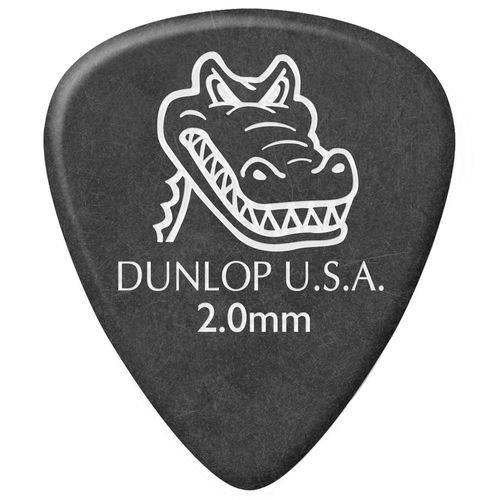 Kit 12 Palhetas Dunlop Gator Grip 2.00mm Cinza para Guitarra Baixo Violão