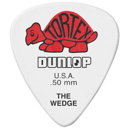 Kit 12 Palhetas Dunlop Tortex Wedge 0.50mm Vermelha para Guitarra Baixo Violão