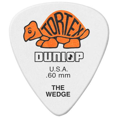 Kit 12 Palhetas Dunlop Tortex Wedge 0.60mm Laranja para Guitarra Baixo Violão