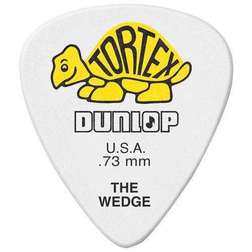 Kit 12 Palhetas Dunlop Tortex Wedge 0.73mm Amarela para Guitarra Baixo Violão