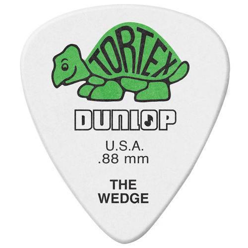 Kit 12 Palhetas Dunlop Tortex Wedge 0.88mm Branca Verde para Guitarra Baixo Violão