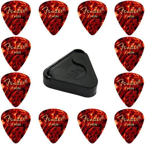 Kit 12 Palhetas Fender Thin Shape Original + Porta Palhetas Adesivo SG