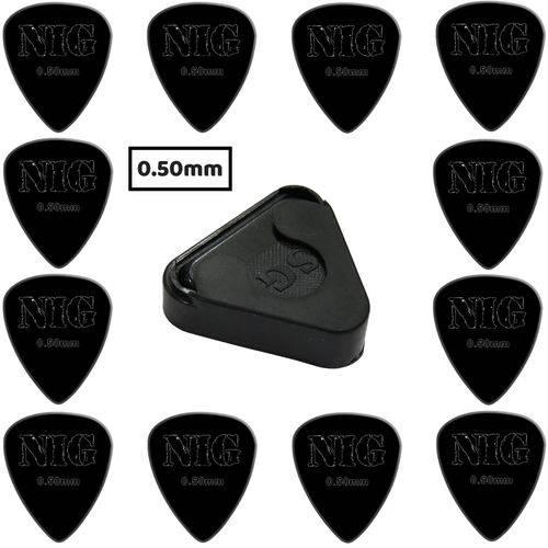 Kit 12 Palhetas Nig 0.50mm Del Rin Preta + Porta Palhetas Adesivo SG