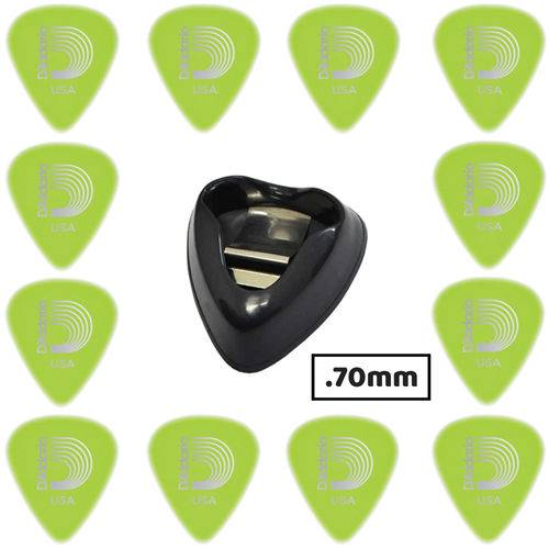 Kit 12 Palhetas Planet Waves Glow 1.0 Mm Guitarra + Porta Palhetas Dunlop Ergo