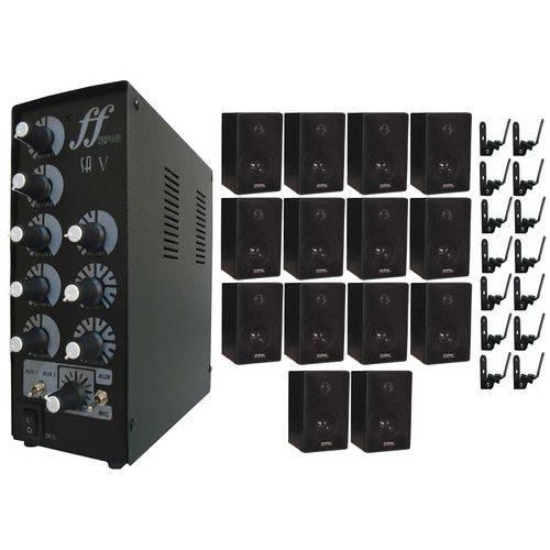 Kit 14 Caixa Som com Suporte + 1 Amplificador e Setorizador