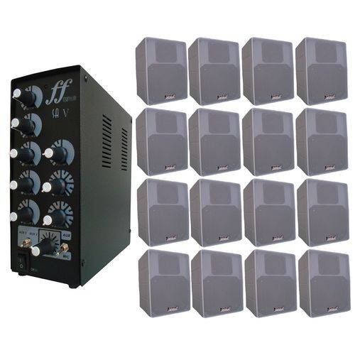 Kit 16 Caixa Som Branca + Amplificador e Setorizador 5 Canal