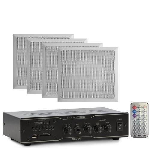Kit 4 Arandela Quadrada + 1 Receiver Frahm Slim 1000 Sd Card