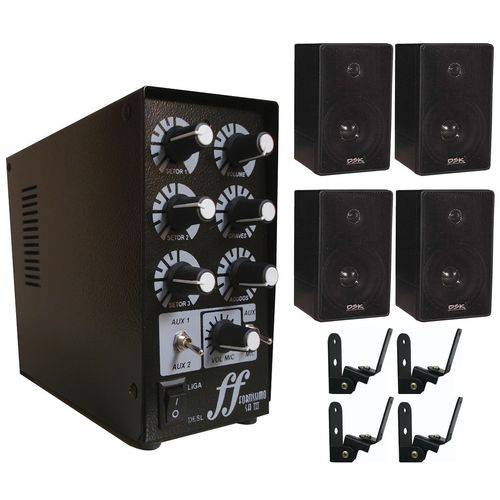 Kit 4 Caixa Som 4 Suporte 1 Amplificador Setorizador 3 Canal
