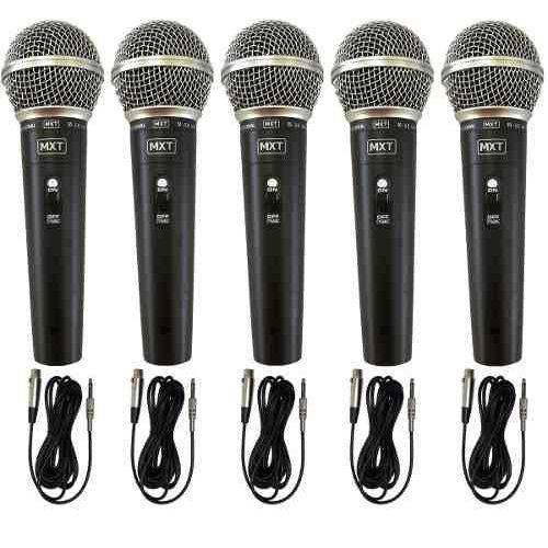 Kit 5 Microfones Profissional Dinâmico Mxt M 58 + Cabo
