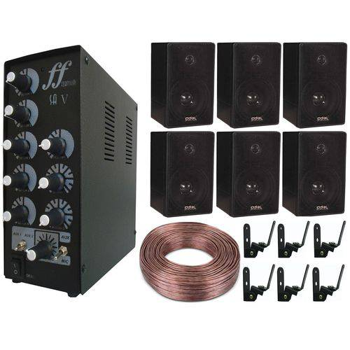 Kit 6 Caixa Som 6 Suporte 1 Amplificador 1 Rolo Fio 100m