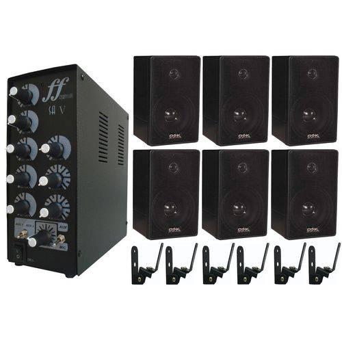 Kit 6 Caixa Som Ambiente 6 Suporte, Amplificador Setorizador