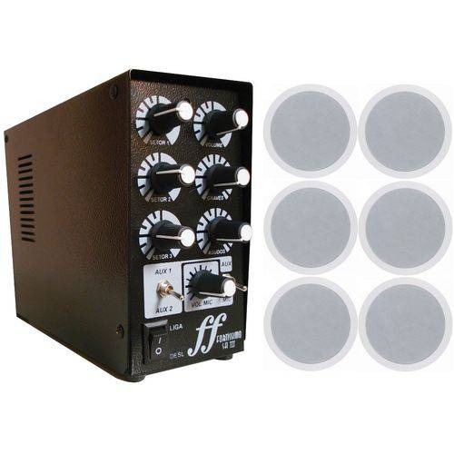 Kit 6 Caixa Som Embutir + 1 Amplificador Setorizador 3 Setor